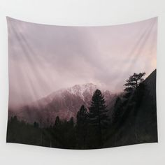 Misty Sunset on Convict Mountain Wall Tapestry by Los Adventures