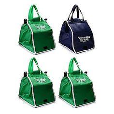 Grab Bag Set of Four Expandable & Reusable Shopping Bags w/ Cart Clips