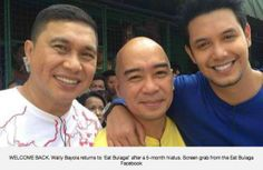 """After his controversial video, Wally Bayola returned to GMA-7 noontime show 'Eat Bulaga' on Saturday, February 9. During the airing of the episode, comedian Jose Manalo was seen searching for the missing half of a cardboard heart in the segement """"Juan For All, All For Juan."""" Then a tearful Bayola appeared, holding the missing piece … Eat Bulaga, Spanish Song Lyrics, February 9, Missing Piece, Pinoy, Learning Spanish, Celebrity Gossip, Comedians, Superstar"""