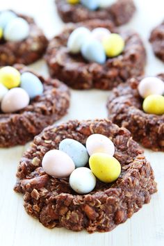 No-Bake Chocolate Peanut Butter Nest Cookies on twopeasandtheirpod.com These easy no-bake cookies are perfect for spring and Easter!