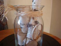 Glass Vase with Birch Wood Rustic Wedding by DivineRusticCreation, $25.00