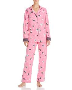 Pj Salvage Ostrich Flannel Pajama Set    Cotton   Machine wash   Imported   Top: notch collar, button front closure, long sleeves, side slit pockets   Pants: elasticized drawstring waistband with fron
