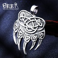 stainless steel Amulet Viking Slavic God Symbol Warding Veles Bear Paw with lucky knot Pendant Necklace Jewelry Jewelry Knots, Jewelry Necklaces, Vintage Silver, Vintage Men, Silver Pendant Necklace, Knot Necklace, Bear Paws, Silver Man, Celtic Knot