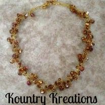 """You are viewing a Lite COLORADO TOPAZ Glass Beaded Crochet Wire Necklace (Ready to Ship) it is hand crocheted using gold non-tarnishing wire and beads..  Approximately 18""""  ***** THIS IS THE ONLY ONE !! TRULY ONE OF A KIND !! *****  So pretty! And so now! What a fun way to dress up your loo..."""
