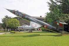 """Lockheed F-104S-ASA MM6804,ended career at Istrana June 1998,flying as """"51-07″ with 22°Gruppo CI.Later unveiled mounted on support as monument,November 3,1999,celebrating 60th anniversary of 51°Stormo (Wing)Starfighter painted with codes """"51-22″  markings representing then disbanded 22°Gruppo CI on left, """"51-55″ of 155°Gruppo CB.Recently Gruppo Efficienza Aeromobili-aircraft maint sqdn 51°Stormo ended task of refurbishing  repainting all 7 aircraft on display on base."""