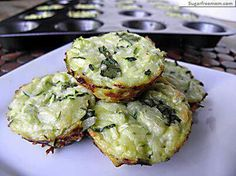 Ingredients ◾2 cups grated zucchini ( about 1 medium) ◾1 egg ◾1/2 cup grated Parmesan Cheese ◾optional: 1/4 cup chopped cilantro, salt & pepper Preheat oven to 400 degrees. Spray muffin pan with nonstick cooking spray. Mix the zucchini, egg, cheese and cilantro. Evenly divide the mixture into the mini muffin pan filling to the top, packed down in each cup. Bake for 15- 18 minutes until golden brown around the edges.
