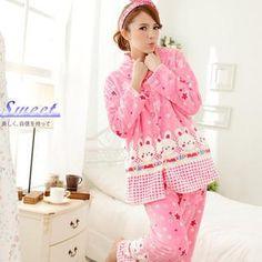 Sweet Princess - Pajama Set: Bear-Print Fleece Top + Pants
