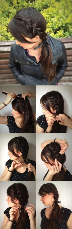 Dutch braid side pony