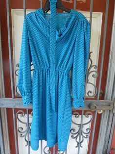True vintage secretary dress XS blue black career Stranger Things #Unbranded