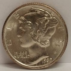 US Mercury Head Dime coin 1930 in Gem Brilliant Uncirculated condition with Full Split Bands