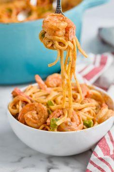 If you are looking for a great one pot pasta, make this One Pot Shrimp Fajita Pasta! Simple ingredients for an easy meal! If you are looking for a great one pot pasta, make this One Pot Shrimp Fajita Pasta! Simple ingredients for an easy meal! Easy Chicken Dinner Recipes, Shrimp Pasta Recipes, Fish Recipes, Seafood Recipes, Cooking Recipes, Shrimp Dishes, Homemade Fajita Seasoning, Seasoning Recipe, Cajun Shrimp Pasta