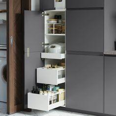 Narrow Corridor Kitchen: 60 Projects, Photos and Ideas - Home Fashion Trend Condo Kitchen, Ikea Kitchen, Kitchen Decor, Small White Kitchens, Grey Kitchens, Tall Kitchen Cabinets, Wooden Kitchen, Ikea Ringhult, Kitchen With High Ceilings