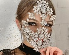 Discover recipes, home ideas, style inspiration and other ideas to try. Face Jewellery, Body Jewelry, Diy Mask, Diy Face Mask, Halloween Face Mask, Shoulder Necklace, Rave Mask, Bridal Mask, Face Veil