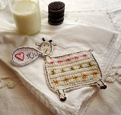 Personalized Crochet Goat Coaster for short text by MonikaDesign