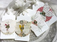 Elegant Luxe Butterfly Spring Art Collage Style Shabby Chic Tags No. 3-white-cream-soft-feminine-spring faire-garden party-gold-nature. $10.00, via Etsy.