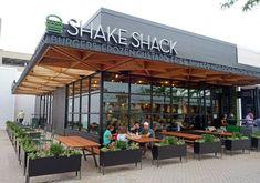 Our planters featured outside of Shake Shack! Restaurant Exterior Design, Outdoor Restaurant Design, Restaurant Facade, Cafe Exterior, Cafe Shop Design, Cafe Interior Design, Santa Helena, Retail Architecture, Supermarket Design