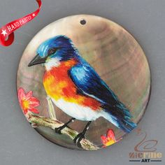 HAND PAINTED KINGFISHER NATURAL MOTHER OF PEARL SHELL MOP PENDANT ZH30 00316 #ZL #PENDANT