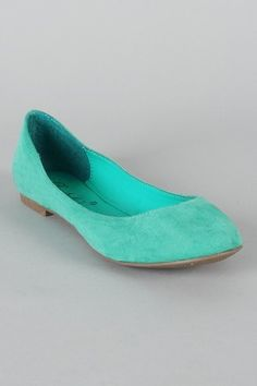 Suede Round Toe Ballet Flat; Want in mint and the honey suckle. $16.80