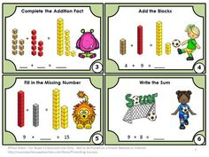 FREE - Addition Task Cards - Here are 6 FREE math sampler task cards for students to practice addition by completing the math fact problems with the number 10, doubles and blocks.