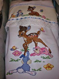 Le creazioni di Cristina: Bamby a punto croce realizzati per mio figlio...completo cullino e coperta lettino!