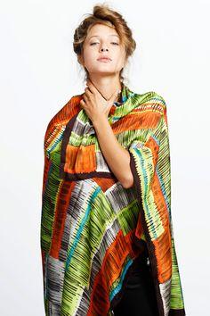 Multicolored neon silk scarf, luxurious huge designer scarf, FREE SHIPPING, Original by Dikla Levsky, Black, Lime, Orange, Grey, Turqouise