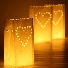 Pack Of 10 Love Heart Candle Bags Lights Party Decoration Luminary Prop Outdoor Candle Lanterns, Tea Light Lanterns, Cheap Lanterns, Tea Lights, Paper Bag Lanterns, Candle Bags, Outdoor Wedding Decorations, Party Outdoor, Party Decoration
