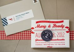 Lobster Bib Save the Dates! - cute, not something I would really do but it's a good idea