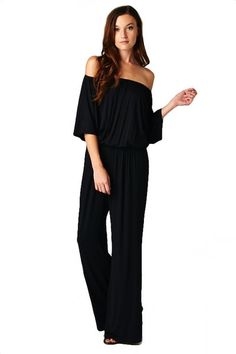Cosmo Off the Shoulder Jumpsuit in Black | This site has a lot of really fabulous affordable pieces.
