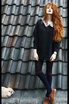 Nadia Esra - Sheinside Sweaterdress, Choies Overknees, Shoes - My beloved monster and me Estilo Hipster, Estilo Grunge, Grunge Fashion, 90s Fashion, Womens Fashion, Redhead Fashion, Estilo Folk, Danielle Victoria, Mode Vintage
