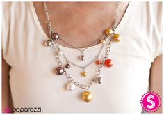 Celebrate the arrival of autumn with this layered necklace that features pearly beads in those beautiful orange, gold and brown hues that remind us that fall has begun! Get yours now for only $5 at www.paparazziaccessories.com/vegasbling