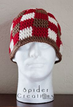 Red, Brown, and Cream Gingham/Plaid Beanie Hat. $18.00, via Etsy.