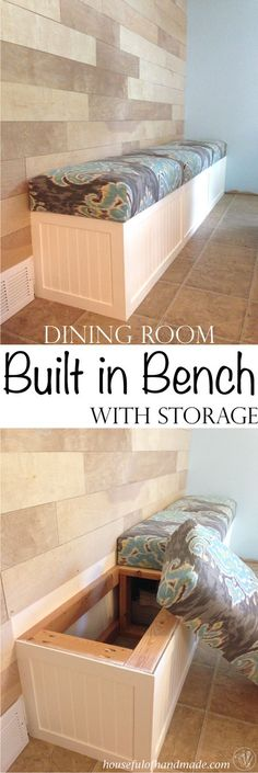 Dining room built in bench with storage from Houseful of Handmade.