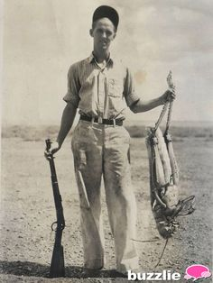 Stuff of Nightmares---  This is a real photo from 1937 of a man in the American midwest after he had shot a grasshopper.