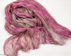 Dusty Rose/Tan Silk Scarf. Chiffon silk scarf. Hand by SirenSilks, $35.00