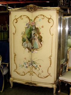 20th C. Gorgeous Italian Venetian Painted Louis XV Bombe Armoire or TV Cabinet #Venetian
