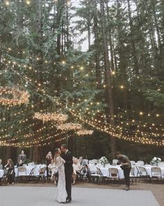 Forest Wedding | Canopy of Twinkle Lights and Chandeliers