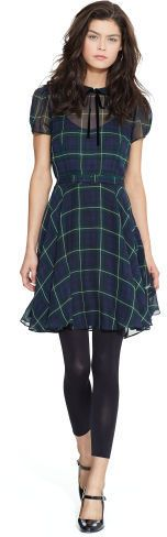 Polo Ralph Lauren Silk Georgette Tartan Dress, with tights or stockings instead of the leggings.
