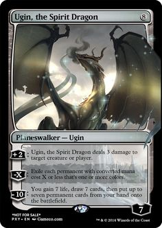 Ugin, the Spirit Dragon  This is the planeswalker from the upcoming Fate Reforged set.