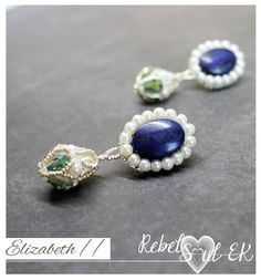 Blue lapis lazuli earrings, blue stone drop earrings, gemstone beaded blue earrings, white pearl embroidery earrings, elizabeth earrings