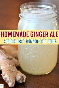 This Homemade Ginger Ale recipe is really delicious and also a fantastic natural remedy. Soothe an upset stomach, flight colds and enjoy the wonderful taste of real ginger. Easy Homemade Ginger Ale Recipe If.