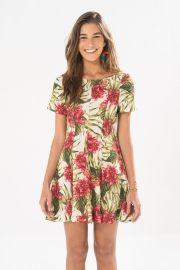vestido curto floreio