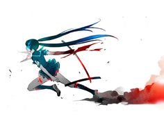 women Vocaloid Black Rock Shooter Hatsune Miku blue eyes blood katana school uniforms schoolgirls skirts weapons blue hair green hair twintails glow running action simple background anime girls glowing eyes sailor uniforms swords bicolored hair white background knee socks