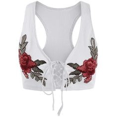 PRODUCT DETAILS - Crop top - Lace up front - Rose embroidery - Cotton & polyester - Stretchy