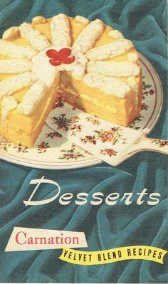 Desserts: Carnation Velvet Blend Recipes, Carnation Milk, c. 1948