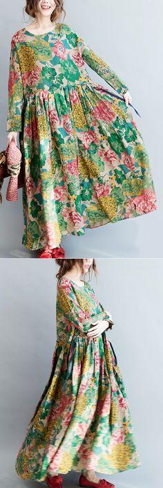 floral-long-linen-dresses-plus-size-clothing-tie-waisttraveling-clothing-2018-o-neck-maxi-dresses