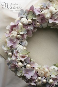 Hydrangea wreath with pearls and seashells