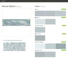 Roman Skyline. Artigiano. Living area. Daltile. Behr. Olympic. Benjamin Moore. PPG Paints. Sherwin Williams. Valspar Paint.  Click the gray Visit button to see the matching paint names.