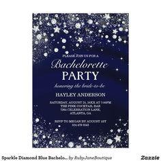 Sparkle Diamond Blue Bachelorette Party Invite