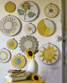 Sunflower embroidery hoops