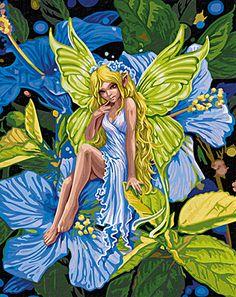Anmutige Blumenelfe Kinder Malen nach Zahlen Schipper 40 x 50 cm Motiv Blumen